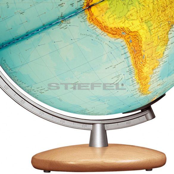 COLUMBUS DUPLEX világítós, asztali, akril, DUO földgömb, bükkfa talppal és ezüst színű meridiánnal Ø 30  cm