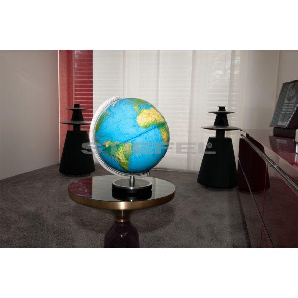 COLUMBUS PANORAMA világítós, asztali, akril, DUO földgömb, bükkfa talppal, fémszínű meridiánnal Ø 34  cm