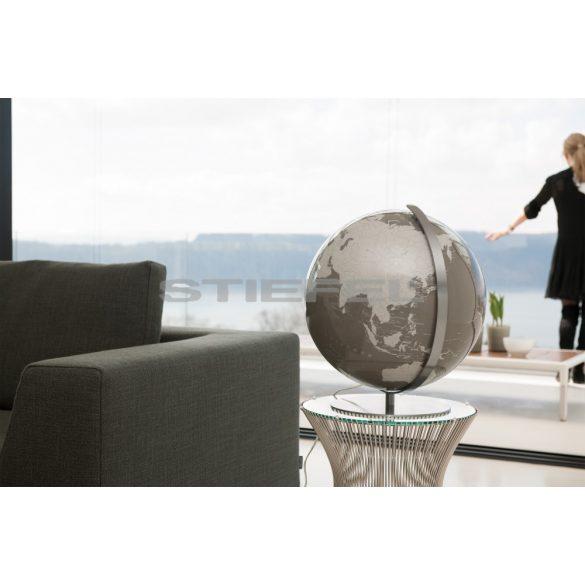 ARTLINE szürke vagy egyedi színű, világítós, asztali, akril földgömb, rozsdamentes acél talppal és meridiánnal