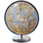 COLUMBUS világítós, asztali, akril, DUO földgömb, a HOLD, ezüst színű talppal, átlátszó meridiánnal Ø 26  cm