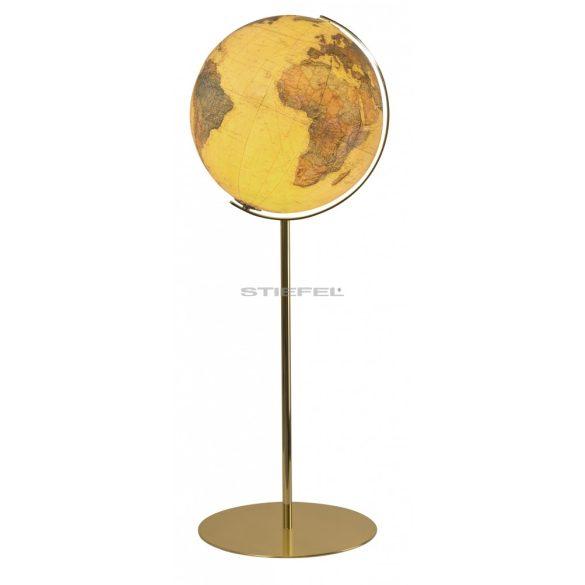 COLUMBUS ROYAL világítós, álló, kristályüveg földgömb, sárgaréz alappal és meridiánnal