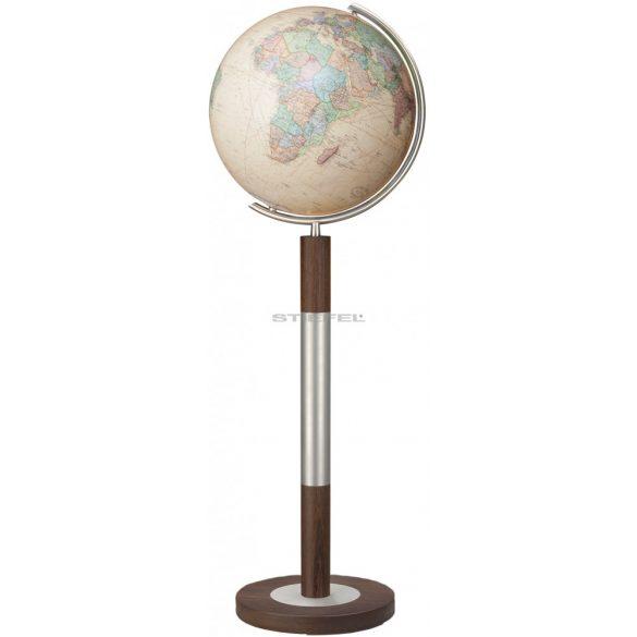 COLUMBUS ROYAL világítós, álló, kristályüveg földgömb, tölgyfa alappal, rozsdamentes acél meridiánnal Ø 40  cm