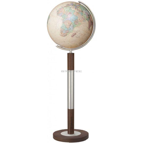 COLUMBUS ROYAL világítós, álló, kristályüveg földgömb, tölgyfa alappal, rozsdamentes acél meridiánnal