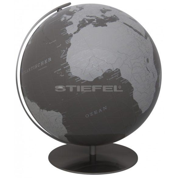 ARTLINE szürke vagy egyedi színű, világítós, asztali, kristályüveg földgömb, rozsdamentes acél talppal és meridiánnal Ø 40  cm