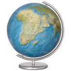 COLUMBUS RELIEF, világítós, kristályüveg földgömb, rozsdamentes acél alappal és meridiánnal Ø 40  cm