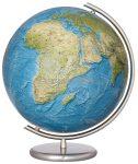 COLUMBUS RELIEF,  világítós, kristályüveg földgömb, rozsdamentes acél alappal és meridiánnal