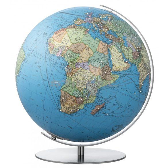 COLUMBUS SWAROVSKI világítós, DUO, akril, asztali földgömb, rozsdamentes acél talppal és meridiánnal Ø 40  cm