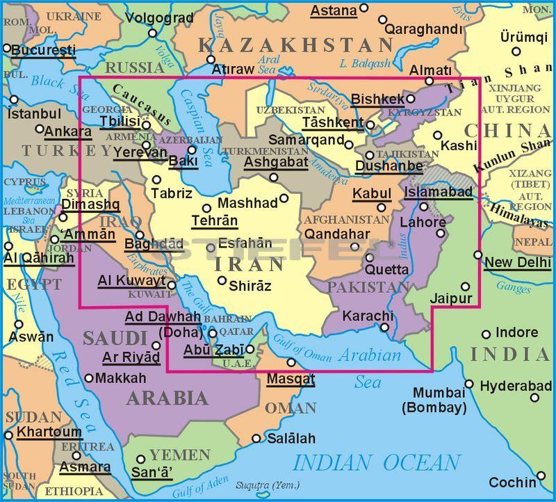 földrajzi térkép A Selyemút országai (általános földrajzi térkép) földrajzi térkép
