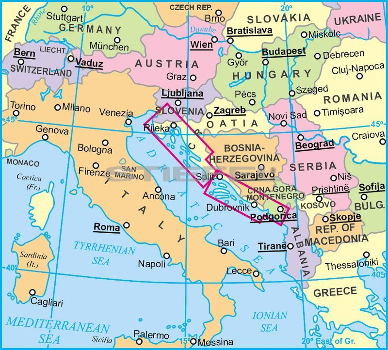 Dalmacia Isztria Altalanos Foldrajzi Terkep