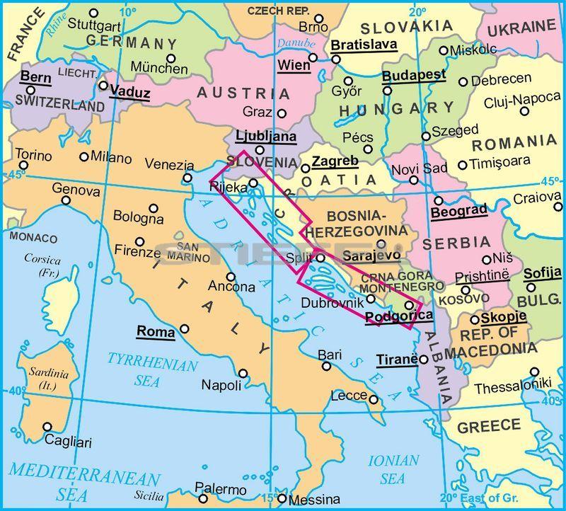 földrajzi térkép Dalmácia, Isztria általános földrajzi térkép földrajzi térkép