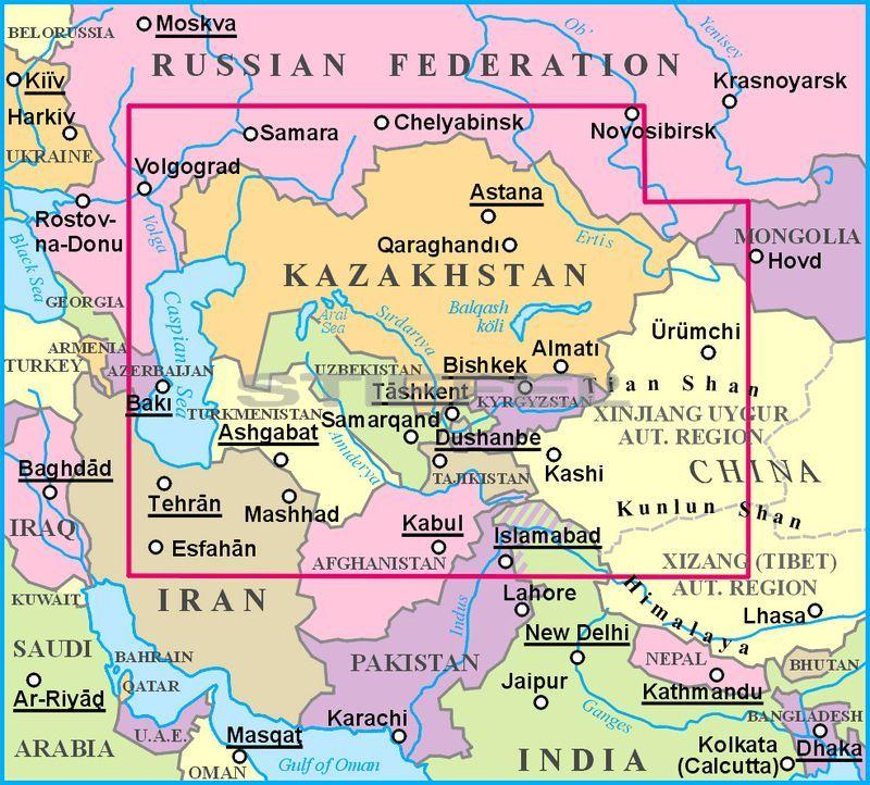 Kazahsztan Altalanos Foldrajzi Terkepe