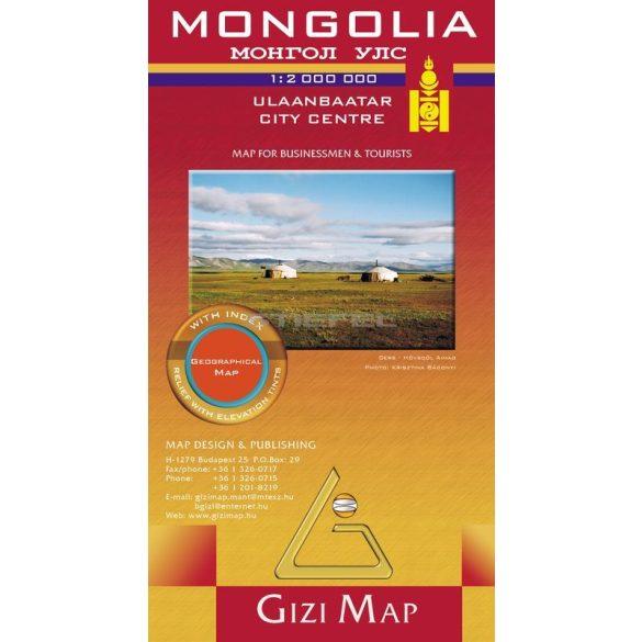 Mongólia általános földrajzi térképe