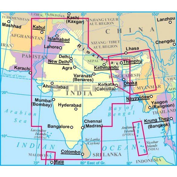 India általános földrajzi térképe - Új kiadás