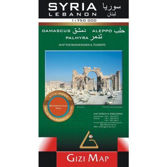 Szíria-Libanon általános földrajzi térkép