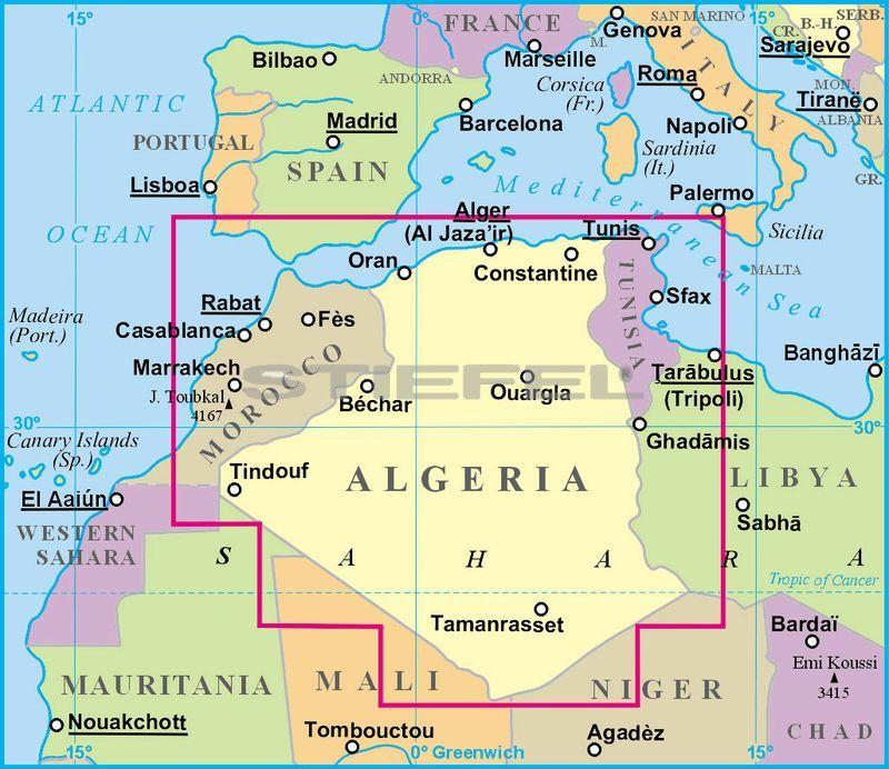 algéria térkép Algéria (általános földrajzi térképe)