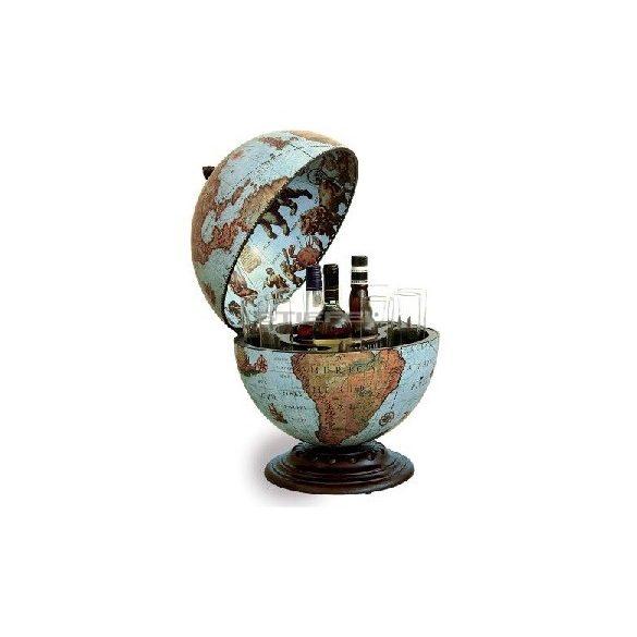 Bárföldgömb barna asztali Nettuno Ocean (a gömb teteje oldalra nyitható) óceánkék Ø 40  cm