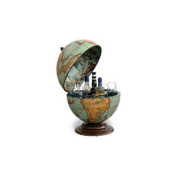 Bárföldgömb barna asztali Nettuno Laguna (a gömb teteje oldalra nyitható) kékes Ø 40  cm
