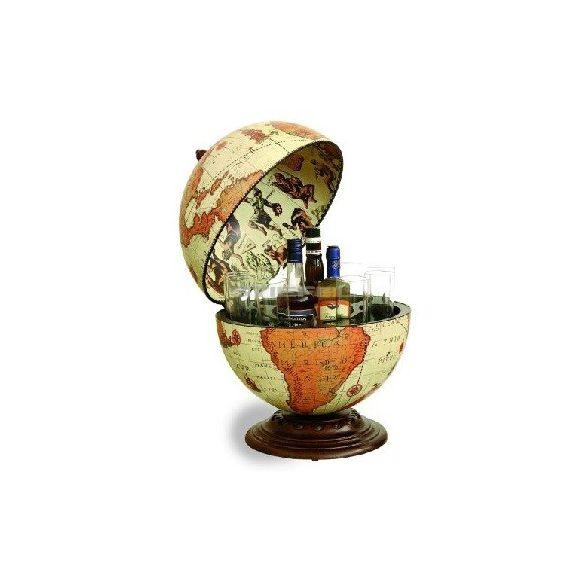 Bárföldgömb barna asztali Nettuno Safari (a gömb teteje oldalra nyitható) világos Ø 40  cm