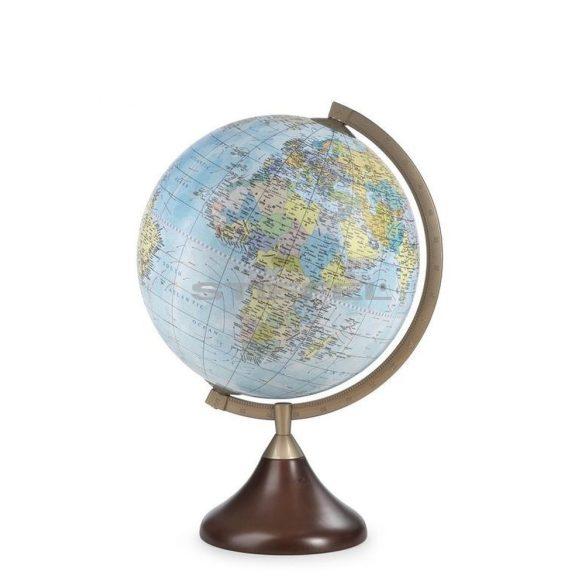 Földgömb CORONELLI asztali politikai angol nyelvű fatalpas fém meridiánnal