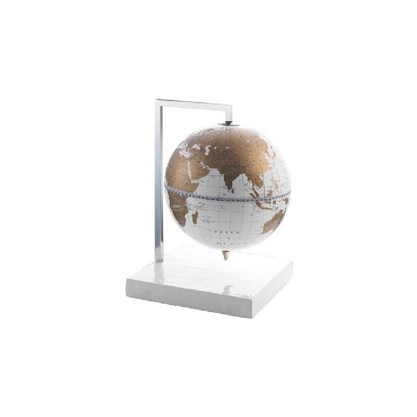Földgömb asztali QUADRA, fehér-arany gömb fatalp fém tartóval