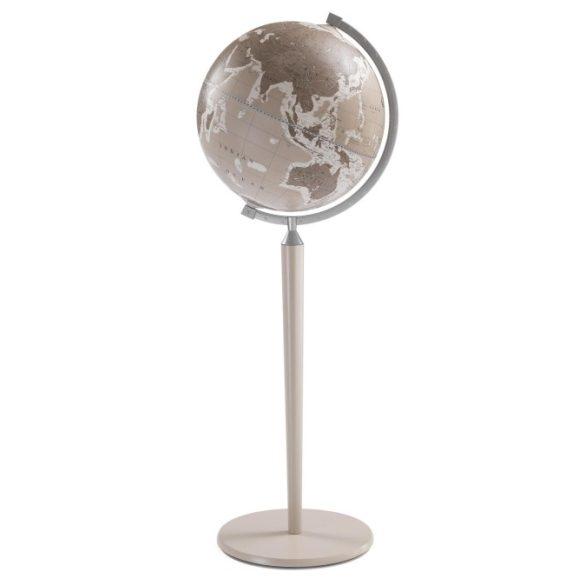 Földgömb VASCO DE GAMA meleg szürke angol nyelvű álló, szürke fatalpas fém meridiánnal