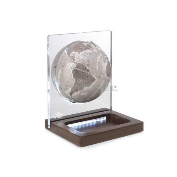 Földgömb asztali ARIA DESK meleg szürke gömb fatalp led világítással plexi váz