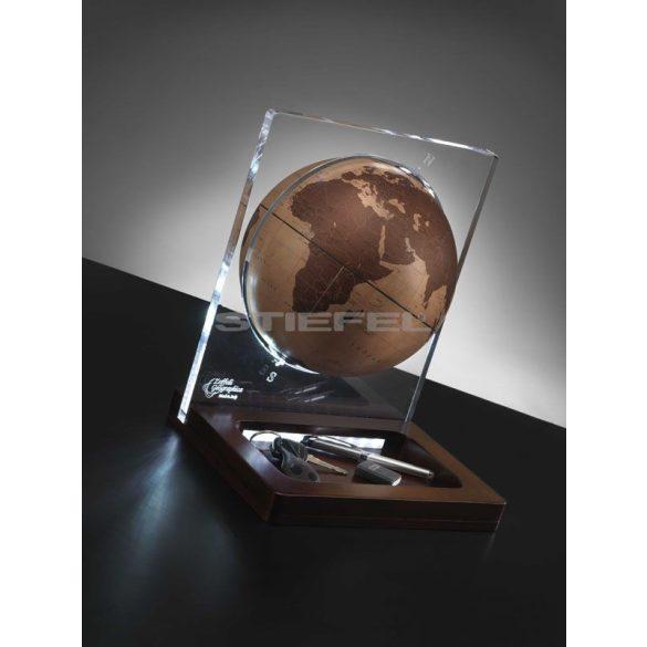 Földgömb asztali ARIA DESK natúr bronz gömb fatalp led világítással plexi váz