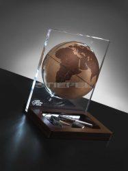 Földgömb asztali ARIA DESK natúr bronz gömb fatalp plexi váz
