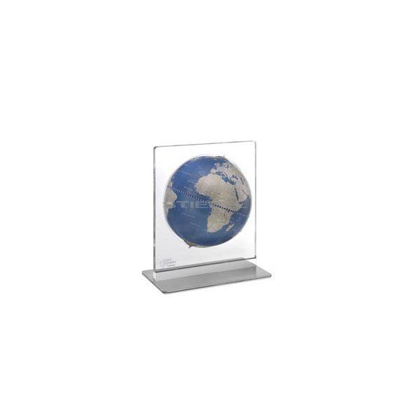 Földgömb asztali ARIA DESK kék metál gömb fém talp plexi váz Ø 22  cm
