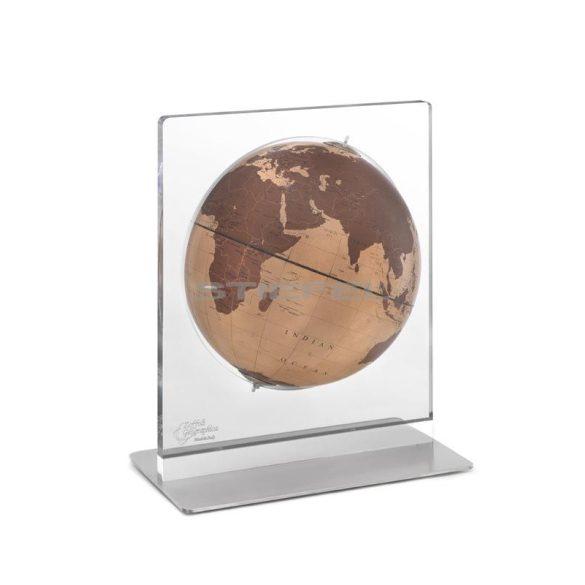 Földgömb asztali ARIA DESK natúr bronz gömb fém talp plexi váz