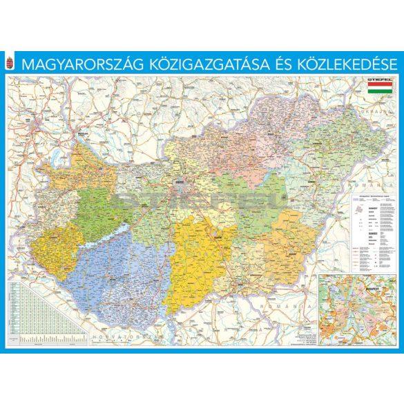 Magyarország közigazgatása fémkeretes, mágneses prémium térkép