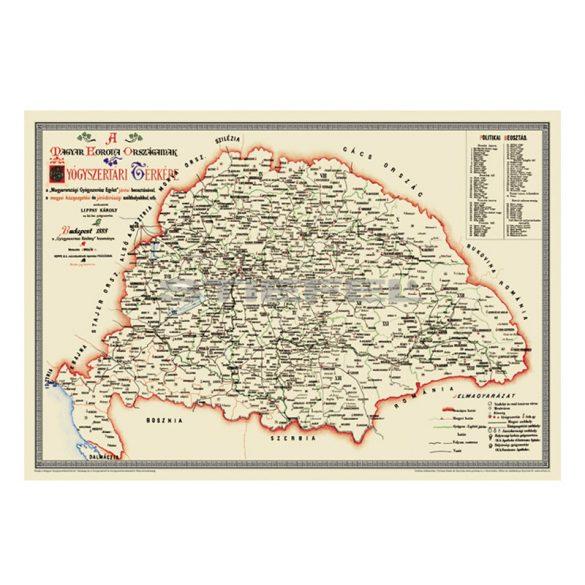 A Magyar Korona Országainak Gyógyszertári Térképe, keretezett