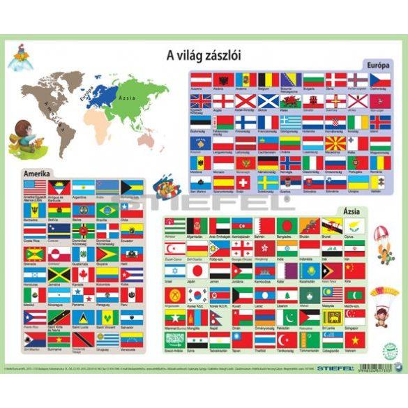 Tanulói munkalapcsomag negyedik osztályos műa. tasakban Világ zászlói A3 alátéttel és kék filctollal