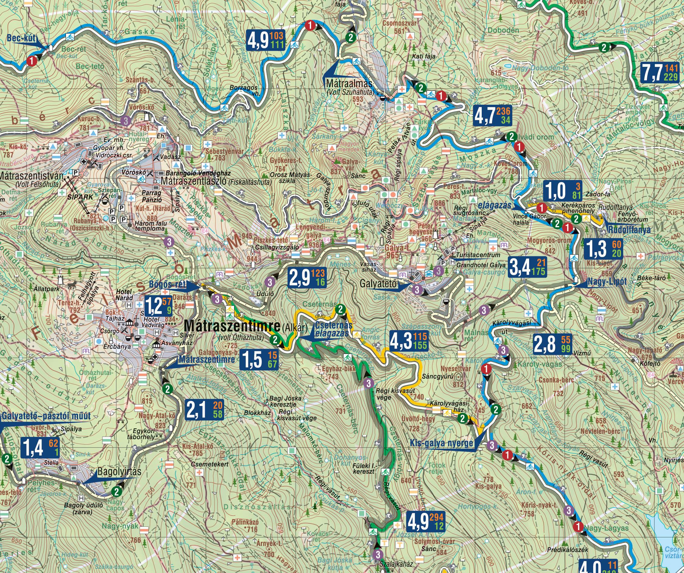 Részlet a turista- és a kerékpáros térképből