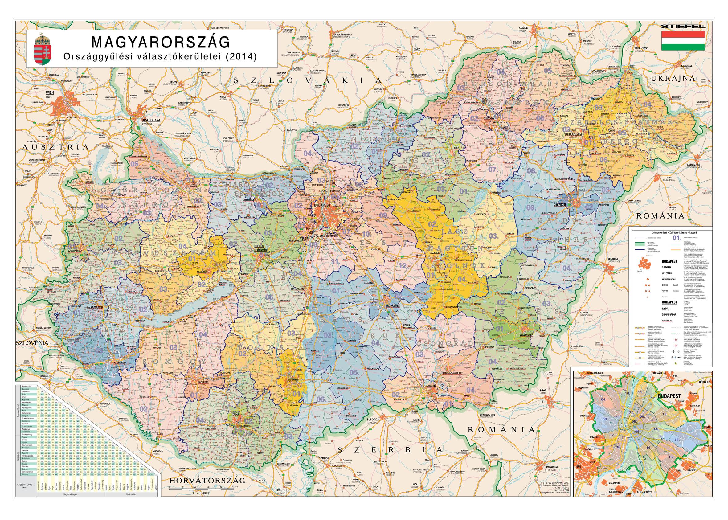 Magyarország választókerületi térkép - élénk színes