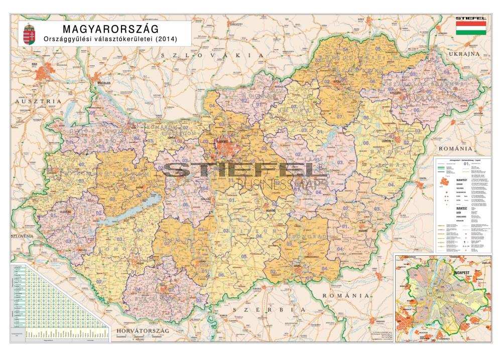 Magyarország választókerületi térkép - szolíd színes