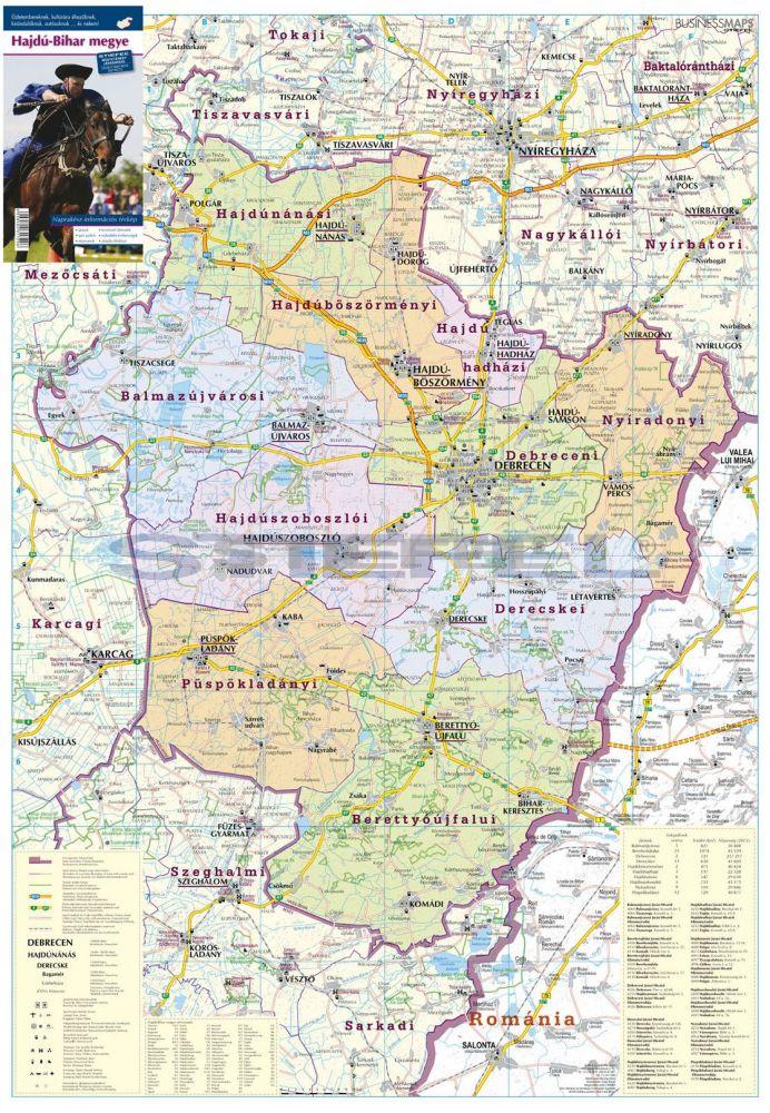 Hajdú-Bihar megye térképe, tűzhető, keretes