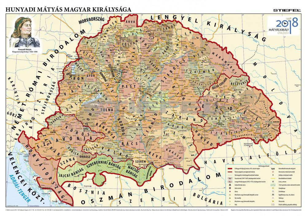 Hunyadi Mátyás magyar királysága térkép, fémléces