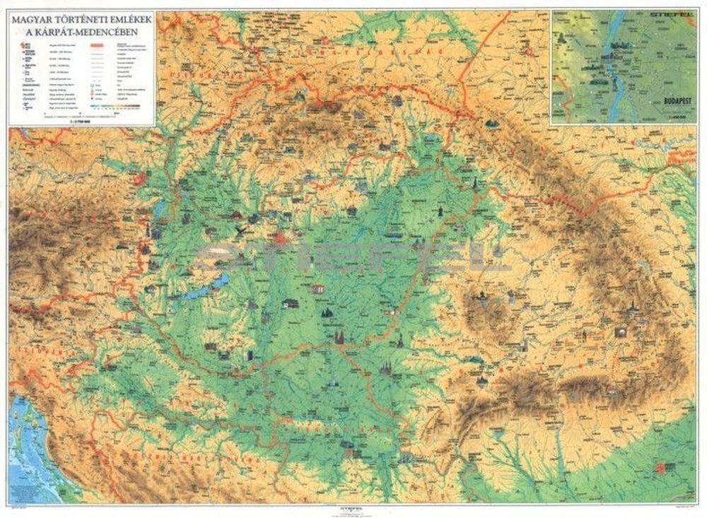 Magyar történeti emlékek a Kárpát-medencében (kétoldalas falitérkép)