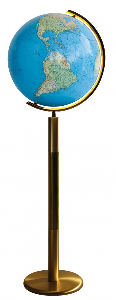 COLUMBUS DUO világítós, álló, kristályüveg földgömb, sárgaréz alappal és meridiánnal